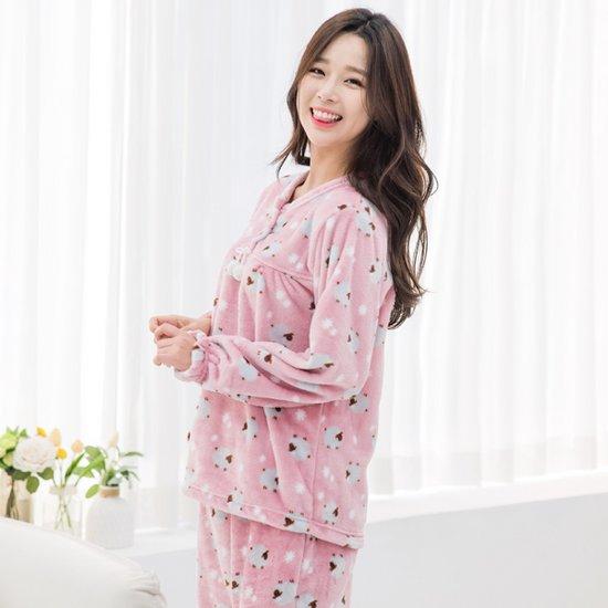 [베스뻬레] 고급 밍크 수면잠옷 양떼구름 여자 상하세트