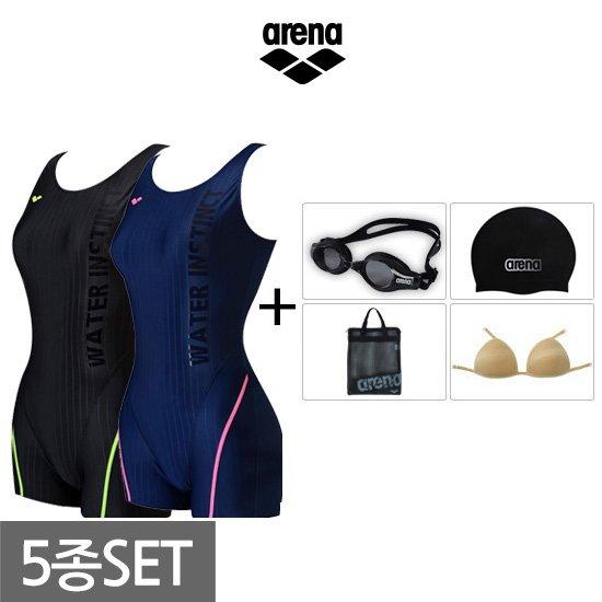 아레나 여성 2부반신+용품 수영복세트 AUFPL21A60