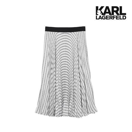 [Karl Lagerfeld] 칼라거펠트 플리츠 로고 미디 스커트