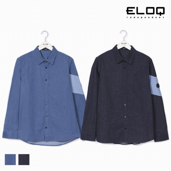 [ELOQ]남성 소매 블록 데님 셔츠B172MSH127M