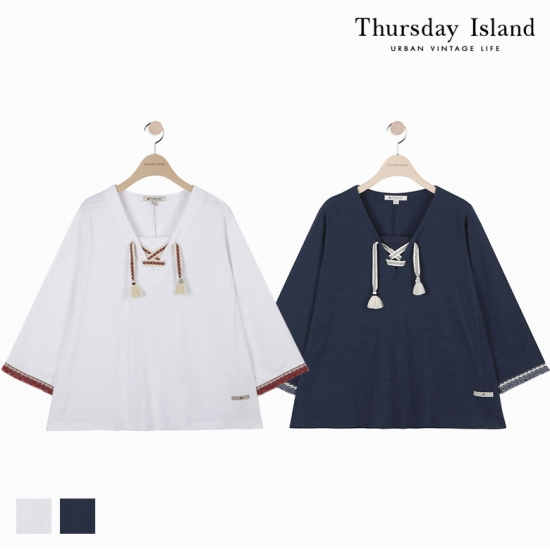 [Thursday Island]여성 자카드테잎 레이스업 티셔츠 T172MTS136W