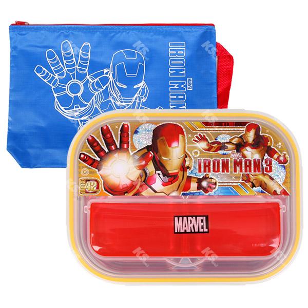 [케이에스몰] 마블 아이언맨 올인원가방수저통식판세트 캐릭터 유아식기