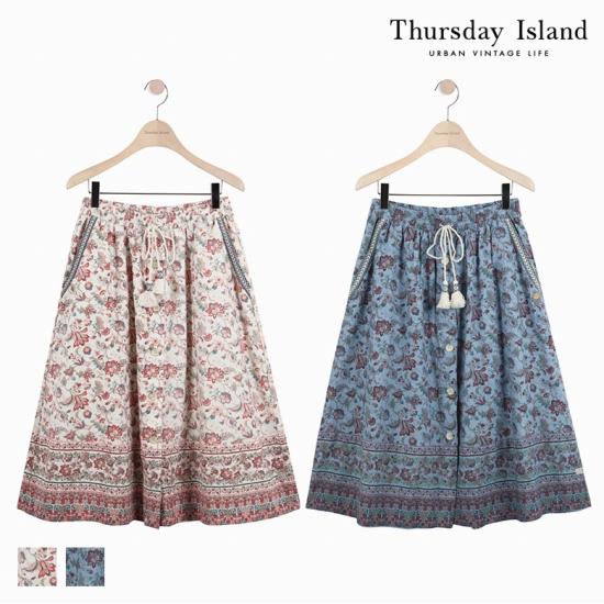 [Thursday Island]여성 전판 플라워 프린트 롱스커트T172MSK134W