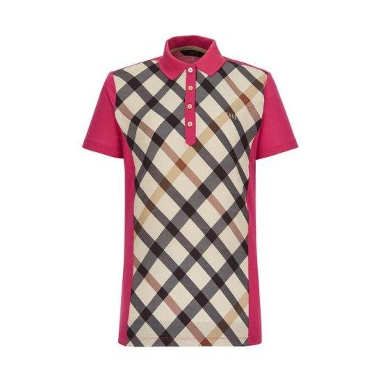 닥스골프 여성 핑크 체크 면혼방 반팔카라티셔츠 WNTS8B007P2