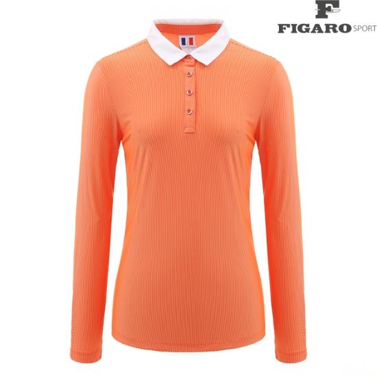 [피가로스포츠] 여성 카라 배색 핀스트라이프 티셔츠 4F8STS114M_OR
