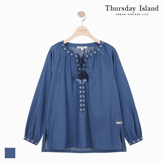 [Thursday Island]여성 2도 자수 해지 블라우스T172MBL135W