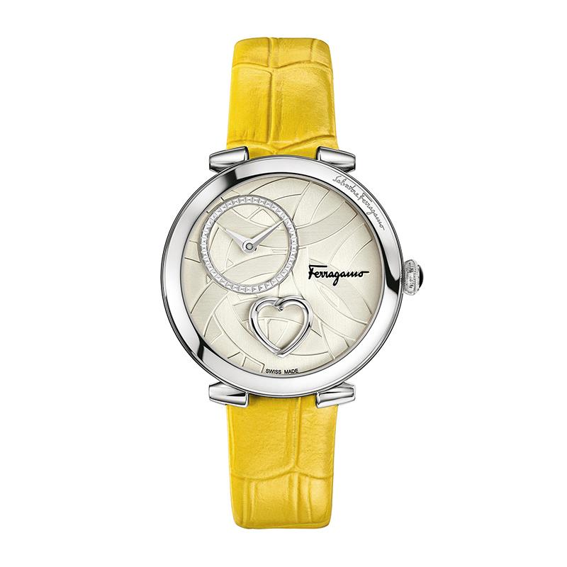 페라가모 쿠오레 페라가모 옐로우 가죽 시계 FE2010016