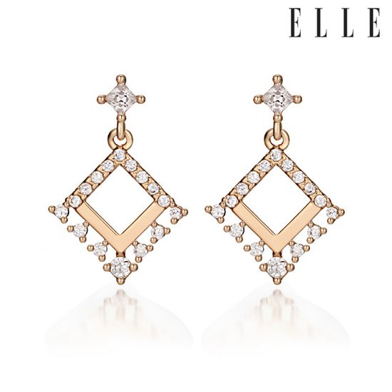 [엘르주얼리] 14k 스퀘어 장식 귀걸이 gold pin ELGPEE018