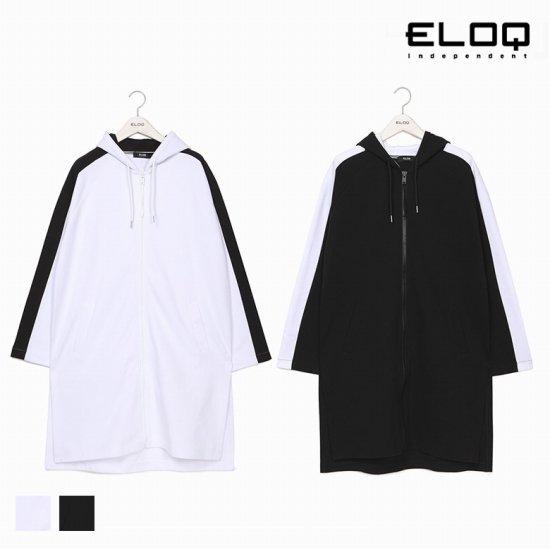 [ELOQ]남성 루즈핏 컬러 배색 후드 롱 집업B172MST121M