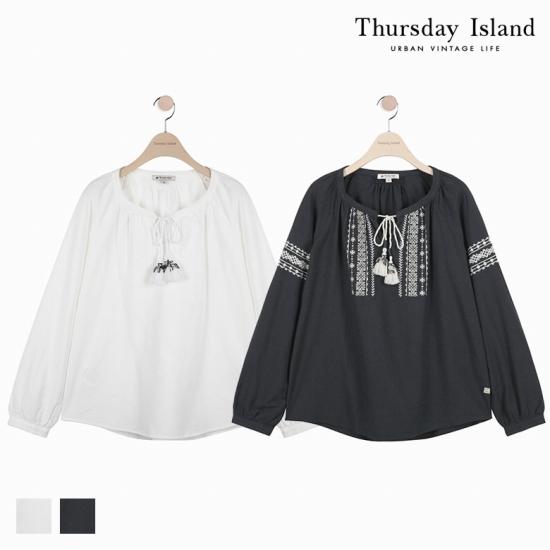 [Thursday Island]여성 모노톤 자수 블라우스T172MBL144W