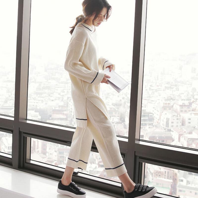 [민트코코아] 여성 잠옷 파자마 크림라인 긴팔세트