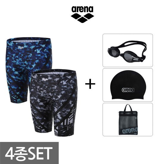아레나 남성 4부사각+용품 수영복세트 AUFPM06A60