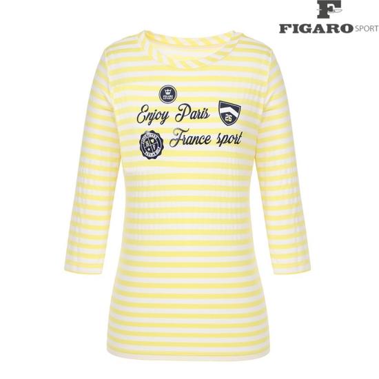 [피가로스포츠] 여성 스트라이프 프린팅 7부 티셔츠 4F8MTE977M_LY