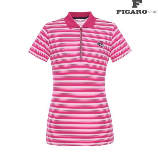 [피가로스포츠] 여성 스트라이프 카라 반집업 티셔츠 4F8MTS171M_PI