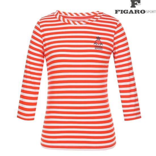 [피가로스포츠] 여성 스트라이프 패턴 7부 티셔츠 4F8MTE978M_OR