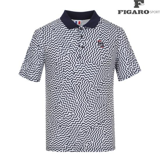 [피가로스포츠] 남성 카라 배색 패턴 반팔 티셔츠 4F8MTS070M_NA