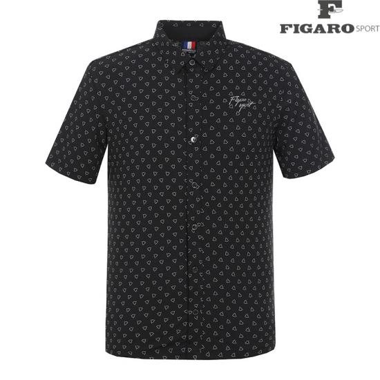 [피가로스포츠] 남성 패턴 포인트 카라 반팔 티셔츠 4F8MTS027M_BK