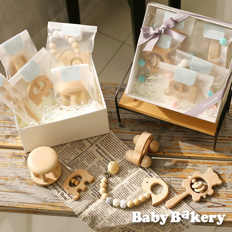 [우드토이] 우드딸랑이 장난감 5종세트치발기포함 출산선물