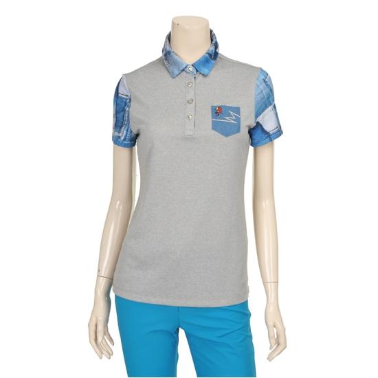 [마코] 여성 포켓 배색 버튼 포인트 티셔츠 4MGW2TS03_15