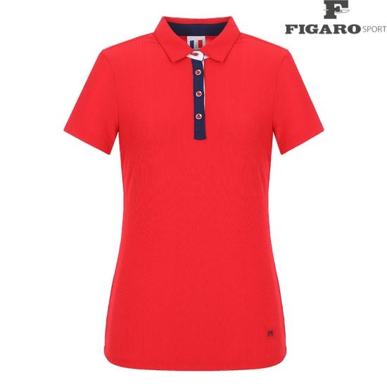 [피가로스포츠] 여성 배색 카라 반팔 티셔츠 4F8MTS122M_RE