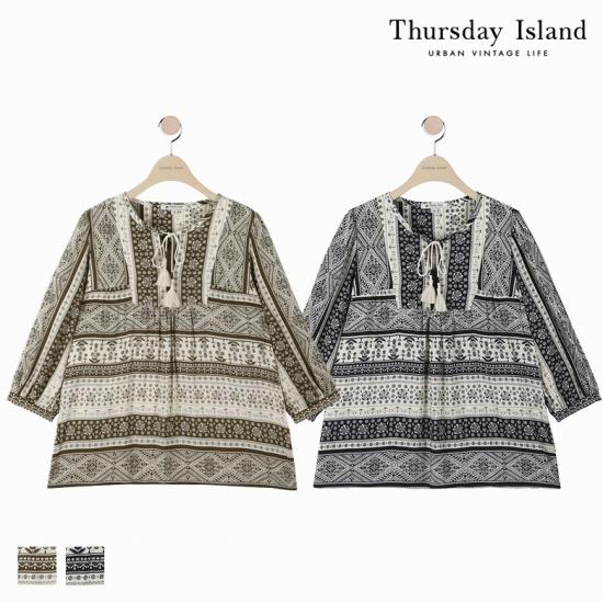 [Thursday Island]여성 전판 가로보더 블라우스T174MBL254W