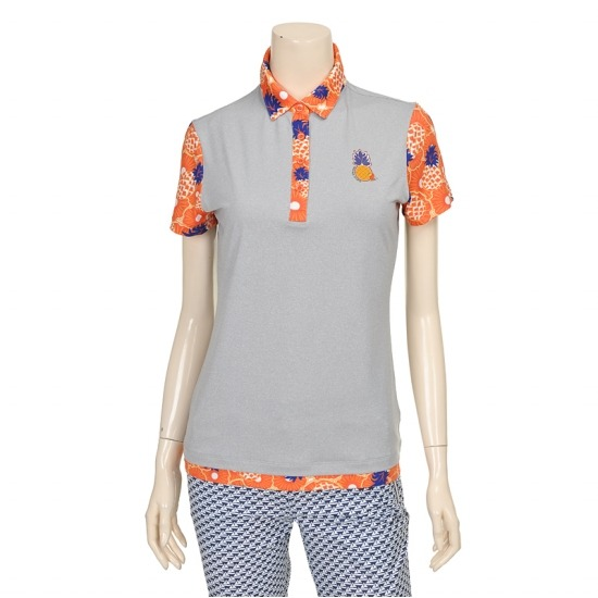 [마코] 여성 포인트 패턴 배색 스포티 티셔츠 4MGW2TS06_15