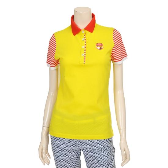[마코] 여성 스트라이프 소매 배색 스포티 티셔츠 4MGW2TS73_21