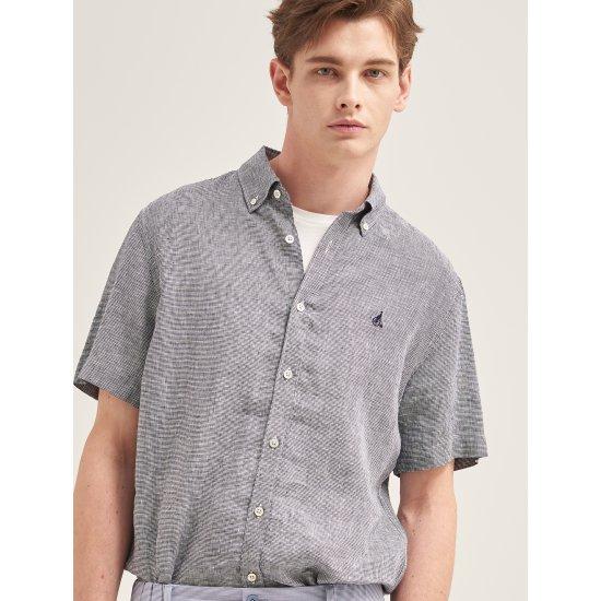 [빈폴멘] 남성 네이비 하운드투스 리넨 반소매 셔츠 BC9365A11R