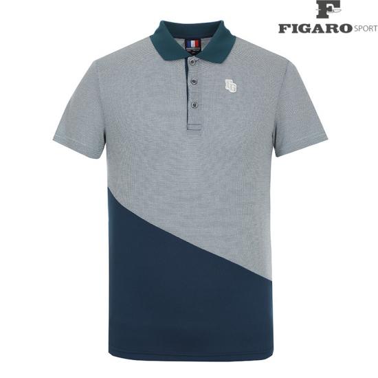[피가로스포츠] 남성 패턴 카라 배색 반팔 티셔츠 4F8MTS060M_TL