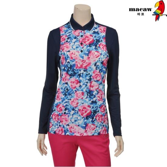 [마코] 여성 몸판 플라워 카라 티셔츠 4MGW1TS07_68