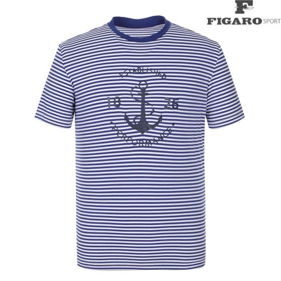 [피가로스포츠] 남성 스트라이프 프린팅 반팔 티셔츠 4F8MTE096M_BL