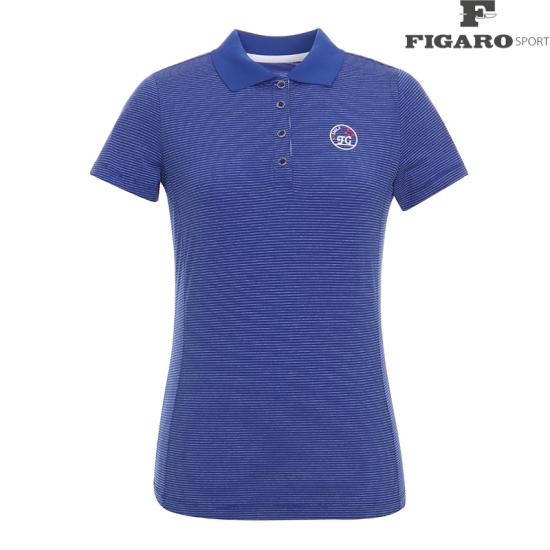 [피가로스포츠] 여성 핀스트라이프 카라 티셔츠 4F8MTS138M_BL