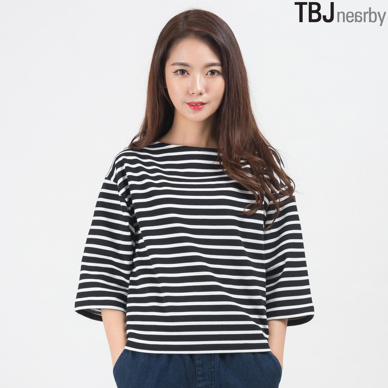 [TBJ]여성 숏기장 스트라이프 보트넥 티셔츠(T161TS603P)