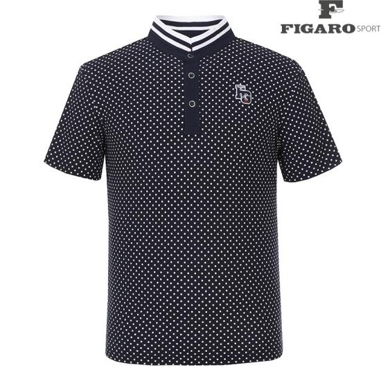 [피가로스포츠] 남성 캐주얼 도트 단추 반팔 티셔츠 4F8MTS035M_NA