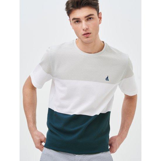 [빈폴멘] 남성 아이보리 블록 에어 라운드 티셔츠 BC9342A290