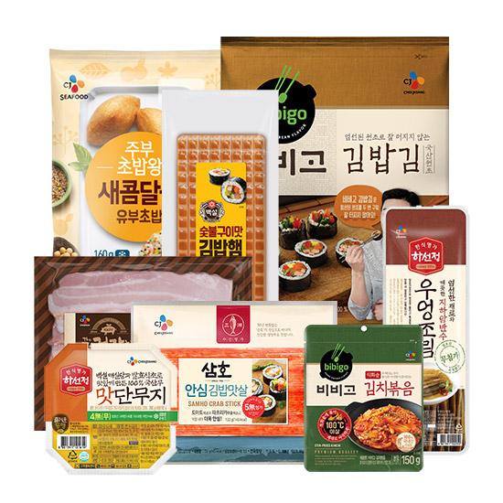 CJ 김밥/유부초밥 외 나들이재료 골라담기<9900원 무배>