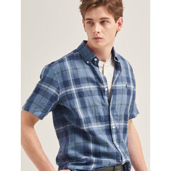빈폴멘  남성 블루 리넨 체크 반소매 셔츠 BC9465A16P