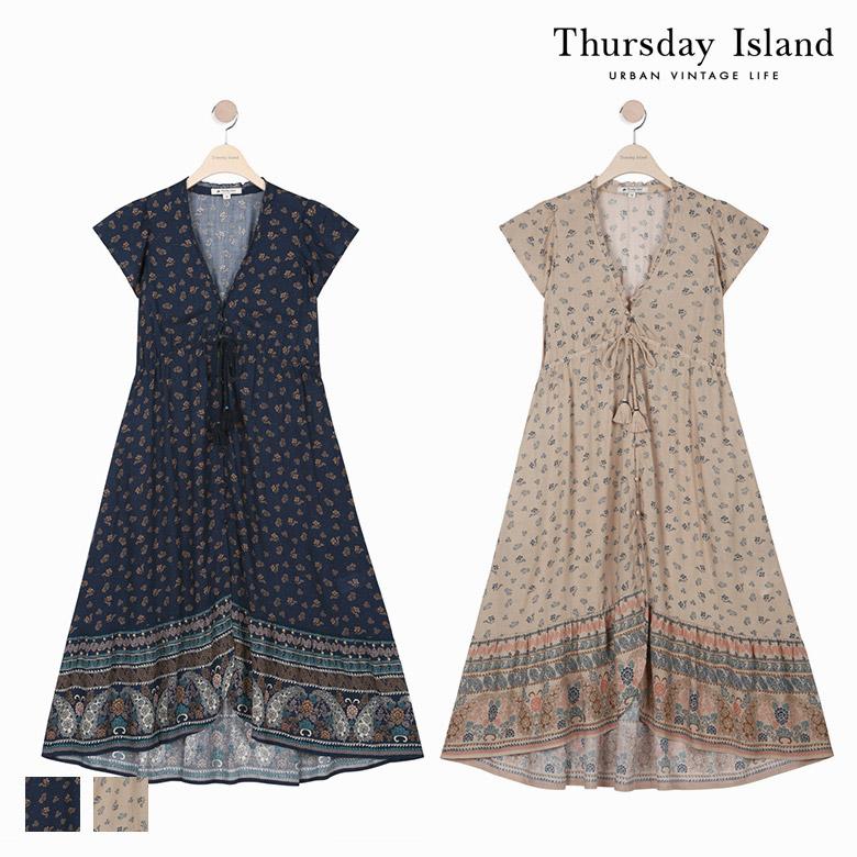 Thursday Island 여성 전판 프린트 밑단보더 로브형 원피스T174MOP255W