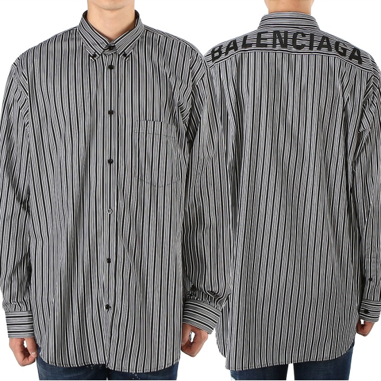 발렌시아가  로고 스트라이프 556878 TDM12 1070 남자 셔츠