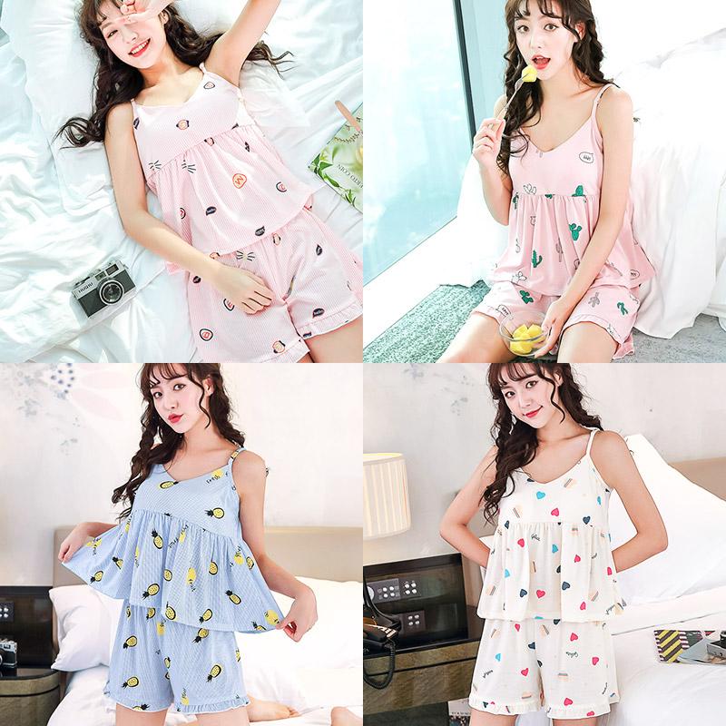 [민트코코아] 여성잠옷 여름파자마 끈나시세트 6종택1