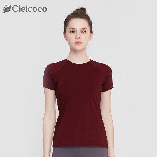 CLWT8047_WINE 요가복상의 반팔 티셔츠