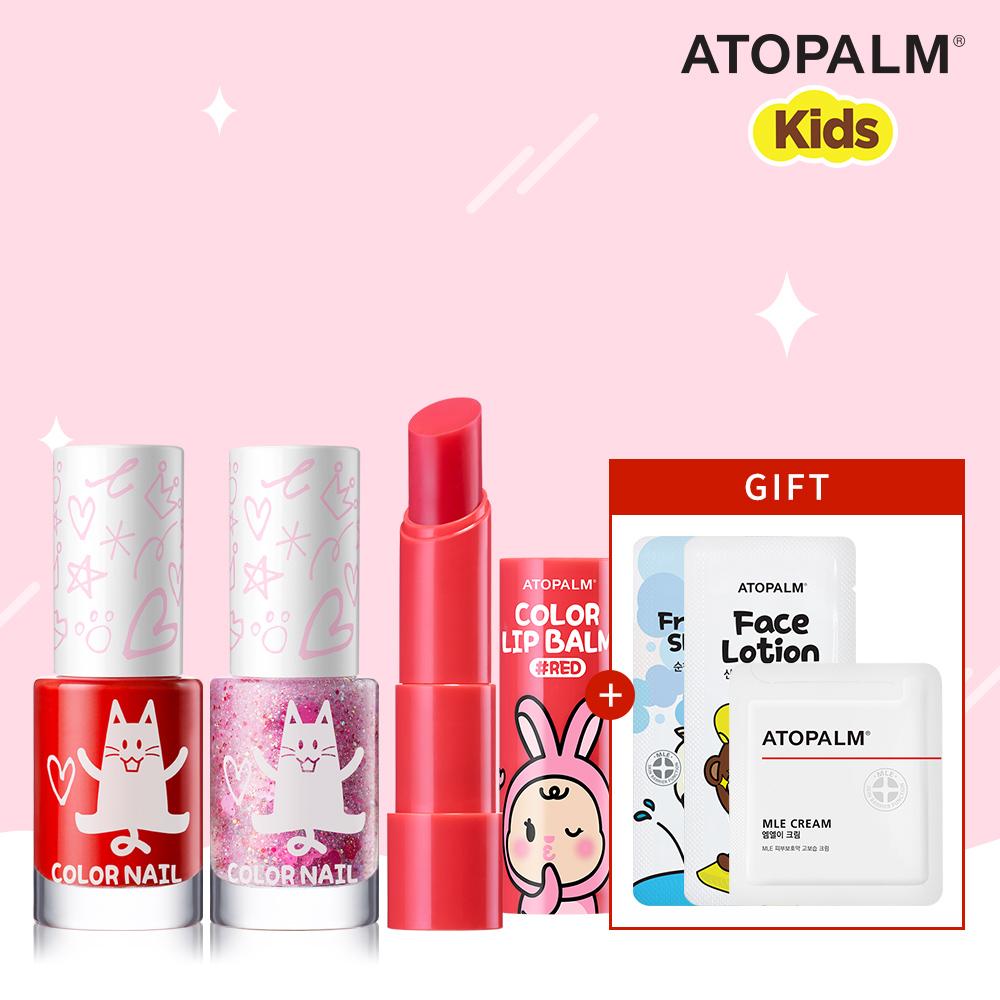 [아토팜 키즈] 컬러 네일 5ml 2개(레드,글리터핑크) + 컬러 립밤(레드)