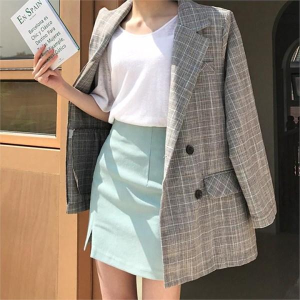[오가게/바비수아]체크언더 여성 봄 여름 린넨 정장자켓