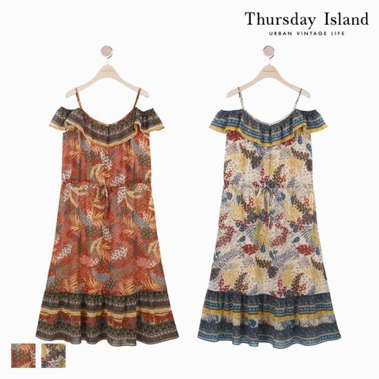 [Thursday Island]여성 가슴셔링 오프숄더 끈나시 원피스T174MOP256W