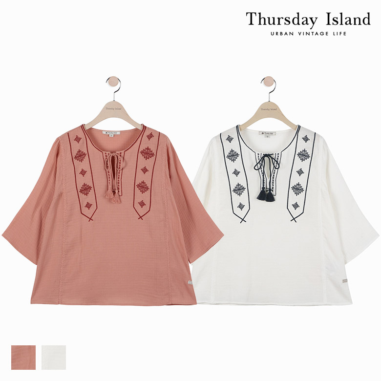 [Thursday Island]여성 자수 포인트 블라우스T174MBL242W