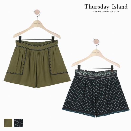 [Thursday Island]여성 라인자수 포인트 숏팬츠T174MPT238W