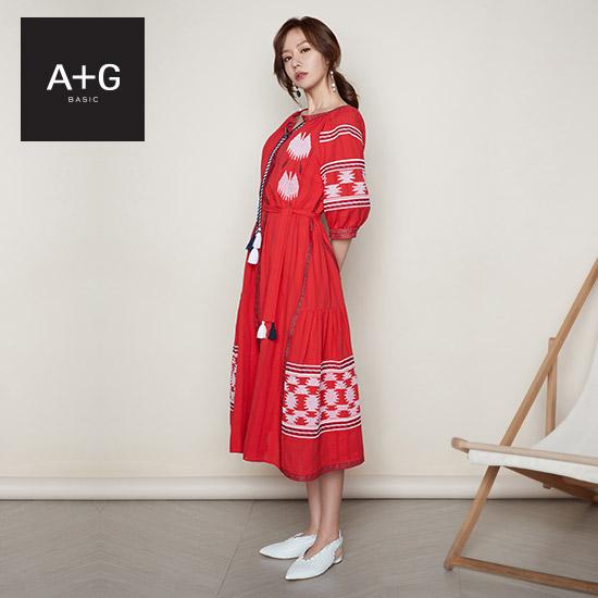 [미리주문10%] A+G 엣지 SUMMER19 에스닉 자수 썸머 드레스