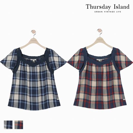 [Thursday Island]여성 레이스 스퀘어넥 체크 블라우스