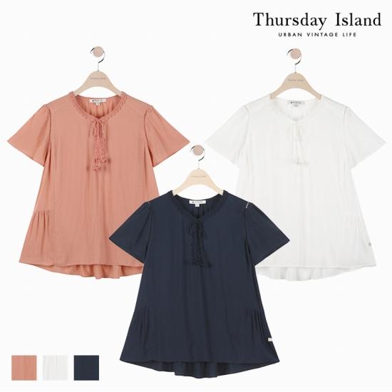[Thursday Island]여성 크로쉐레이스 포인트 블라우스T174MBL235W