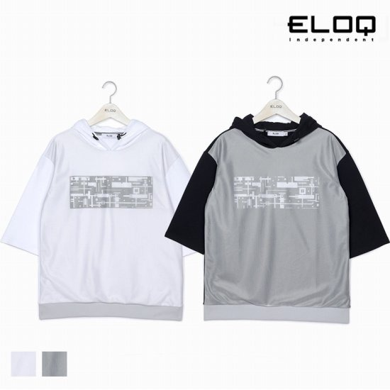 [ELOQ]남성 루즈핏 메이즈 패턴 후드 티셔츠B174MST123M